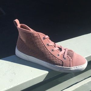 1 State blush colored high top style sneaker